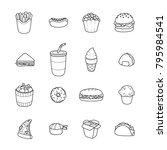 set of vector cartoon doodle... | Shutterstock .eps vector #795984541