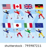 set of simple flat athletes...   Shutterstock .eps vector #795987211