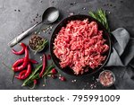 mince. ground meat with... | Shutterstock . vector #795991009