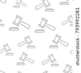 auction hammer seamless pattern ... | Shutterstock .eps vector #795992281