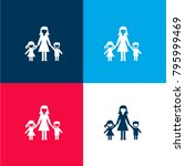 woman with kids four color...