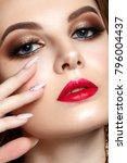 beautiful woman portrait with... | Shutterstock . vector #796004437