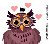 happy valentine cute owl in... | Shutterstock .eps vector #796006861
