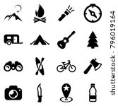 Set of black icons isolated on white background, on theme Camping