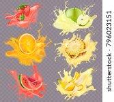 juicy banana  apple  a piece of ...   Shutterstock .eps vector #796023151