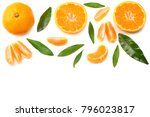 mandarin with slices and green... | Shutterstock . vector #796023817