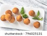 arancini on the white plate   Shutterstock . vector #796025131