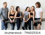 group of laughing young sporty... | Shutterstock . vector #796025314