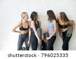 group of young sporty girls... | Shutterstock . vector #796025335