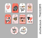 valentines day tags.  | Shutterstock .eps vector #796032895