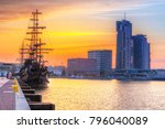 sunset in gdynia city at baltic ... | Shutterstock . vector #796040089