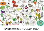 funny vegetables set to be... | Shutterstock .eps vector #796041064