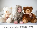 little baby boy playing at home ... | Shutterstock . vector #796041871