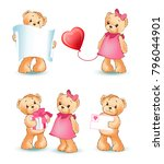 teddy bears collection  couple... | Shutterstock .eps vector #796044901