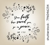 bible quote design with floral...   Shutterstock .eps vector #796046254