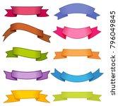 set of ten multicolor ribbons...   Shutterstock .eps vector #796049845