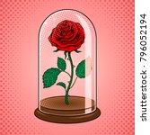 rose flower under glass shell...   Shutterstock .eps vector #796052194