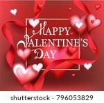 valentine's day invitation card ... | Shutterstock .eps vector #796053829
