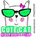 cute cat kids girl tee graphic... | Shutterstock .eps vector #796055359