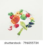 flying organic food with water... | Shutterstock . vector #796055734