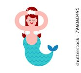 mermaid washes. mythical girl... | Shutterstock .eps vector #796060495