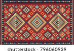 colorful mosaic oriental kilim... | Shutterstock .eps vector #796060939