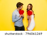 attractive man and cheerful...   Shutterstock . vector #796061269