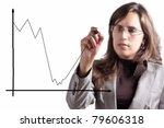 Business Woman Demonstrates that after a Moment of big Crisis comes an Exponential Growth - stock photo
