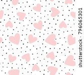 repeated hearts and polka dot.... | Shutterstock .eps vector #796065301