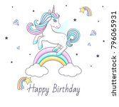 happy birthday card with cute... | Shutterstock .eps vector #796065931