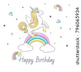 happy birthday card with cute... | Shutterstock .eps vector #796065934
