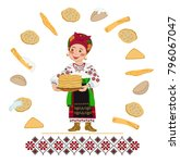 woman in a ukrainian folk... | Shutterstock .eps vector #796067047