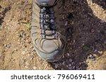 hiking shoe single foot put...   Shutterstock . vector #796069411