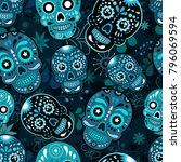 day of the dead colorful sugar... | Shutterstock . vector #796069594