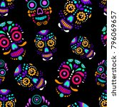 day of the dead colorful sugar... | Shutterstock . vector #796069657