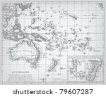 australia  engraving vector map ... | Shutterstock .eps vector #79607287