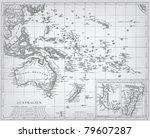 australia  engraving vector map ... | Shutterstock .eps vector #79607287