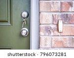 keys inside front door deadbolt ... | Shutterstock . vector #796073281