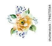 red gerber flower  watercolor... | Shutterstock . vector #796075564