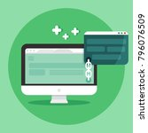 link building concept. seo... | Shutterstock .eps vector #796076509