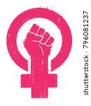 women resist symbol. woman fist ... | Shutterstock .eps vector #796081237