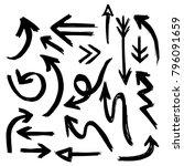 handdrawn set of vector arrows... | Shutterstock .eps vector #796091659