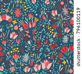 floral seamless pattern with... | Shutterstock .eps vector #796100119