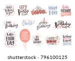 collection of colorful birthday ... | Shutterstock .eps vector #796100125