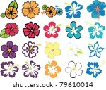 set of colorful hibiscuses and...