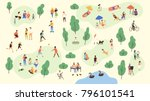 various people at park... | Shutterstock .eps vector #796101541
