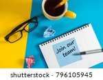 join our team   message at blue ... | Shutterstock . vector #796105945