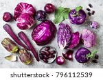 raw purple vegetables over gray ... | Shutterstock . vector #796112539