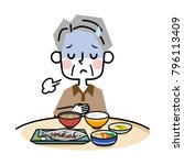 an elderly man without appetite.   Shutterstock .eps vector #796113409