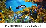 fish swimming in coral reef | Shutterstock . vector #796113874